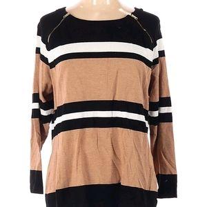 INC sweater color block tan black white plus top